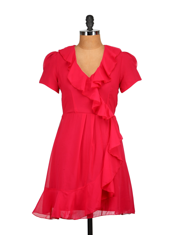Red Ruffled Dress - Tops And Tunics