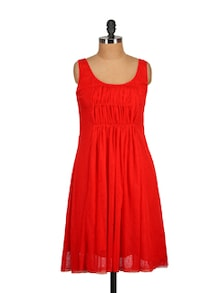 Red Pleated Dress - Tops And Tunics 54025