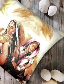 Digital Print 'Village Woman II' Cushion Cover-Set Of 2 - Belkado