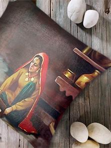 Digital Print 'Village Woman I' Cushion Cover- Set Of 5 - Belkado