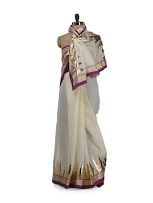 Pearl White & Gold Saree With Wine Border - Purple Oyster