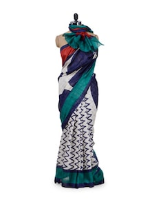 White & Blue Zig-Zag Print Saree - Purple Oyster