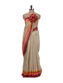 Elegant Beige Printed Saree - Purple Oyster