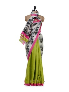 Chic Green Fan Print Saree - Purple Oyster