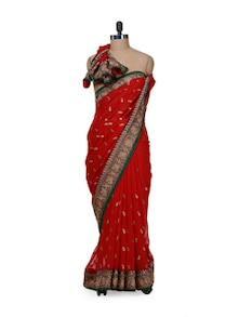 Red Georgette Saree With Banarasi Border - Purple Oyster