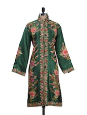 Emerald Floral Embroidered Silk Kashmiri Jacket - Inara Robes