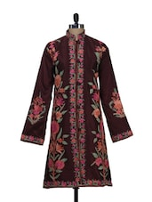 Floral Embroidered Brown Kashmiri Jacket - Inara Robes