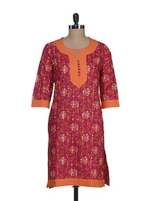 Stylish Pink & Orange Floral Kurta - Cotton Curio
