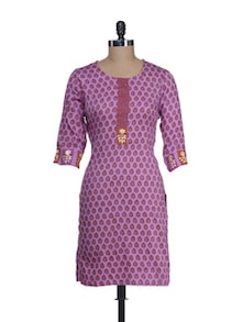 Mauve Printed Cotton Kurta - Cotton Curio