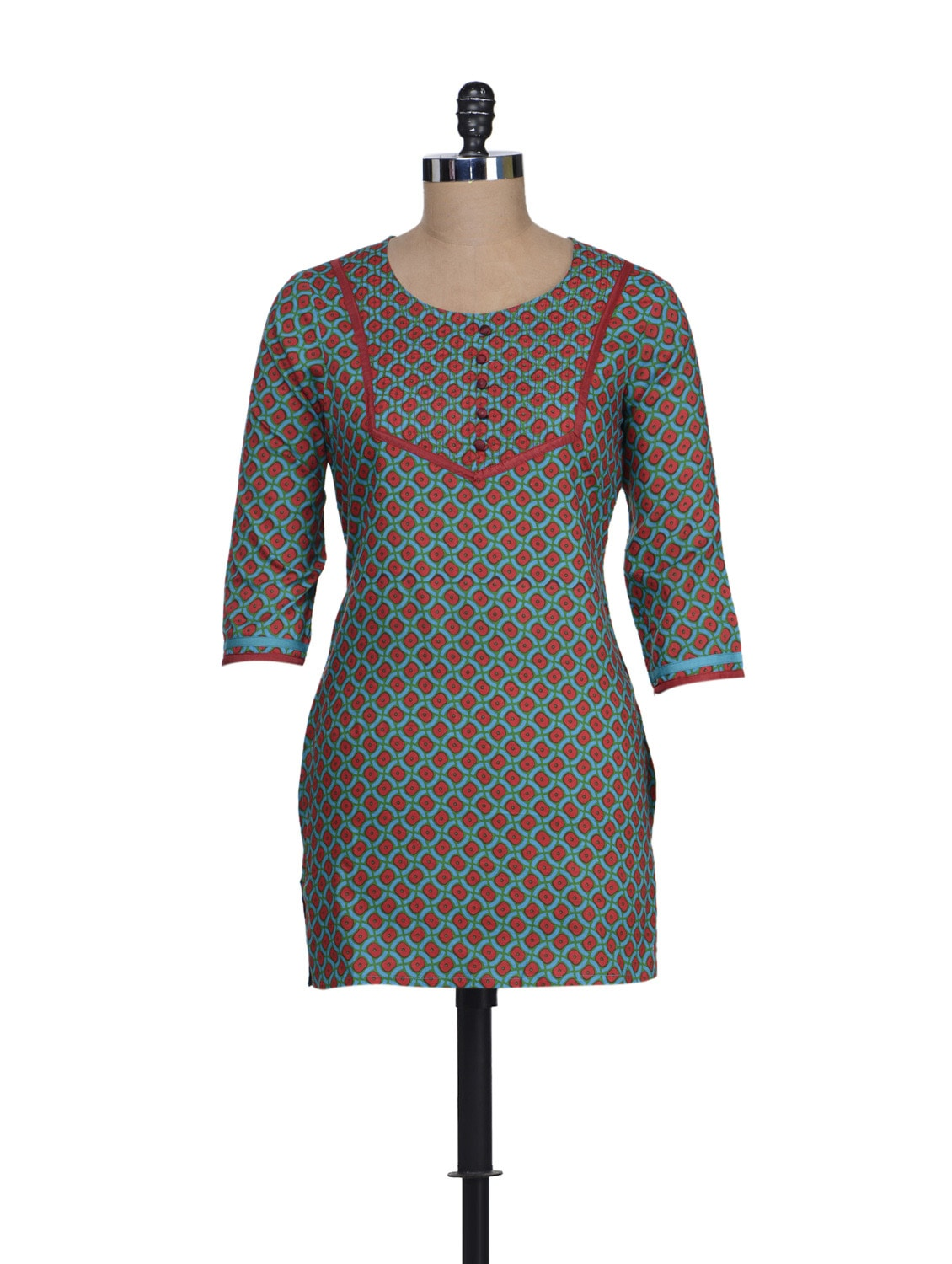 Turquoise Printed Short Kurta - Cotton Curio