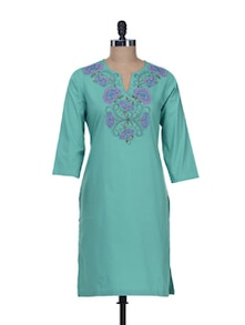 Blue Floral Embroidery Kurta - Overdrive