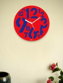 Red Chunky Numbers Wall Clock - Zeeshaan 55103