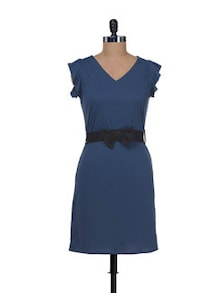 Chic Blue Dress With Frill Sleeves - @ 499