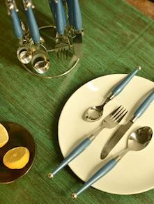 Elegant Blue Cutlery Set- 25 Piece - Elegante