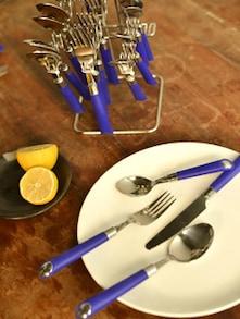 Designer Blue Cutlery Set- 25 Piece - Elegante