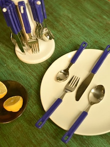 Blue Cutlery Set With Round Stand- 25 Pieces - Elegante
