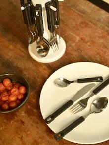 Black Cutlery Set With Round Stand- 25 Pieces - Elegante