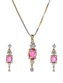 Coloured Stone Pendant With Chain And Earrings - Aradhyaa Jewel Arts
