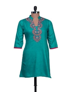 Turquoise Kurti With Delicate Embroidery - AFSANA