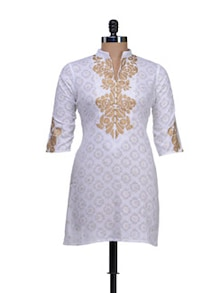 White Kurti With Embroidery In Beige - AFSANA