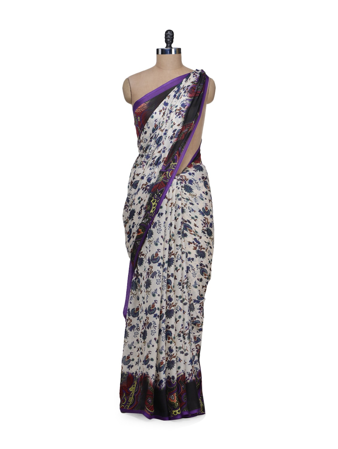 1487f9e89b2d05 Buy White Floral Print Saree for Women from Garden for ₹867 at 0 ...