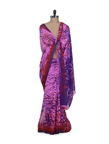Hot Pink Printed Saree - Garden