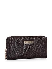 Stitch Pattern Brown Wallet With Zipper Closure - Addons