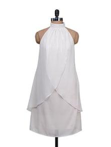 Wavy Drapes Halter Neck White Dress - Meee