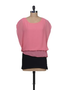 Flirty Pink Top With Black Skirt - Kaxiaa