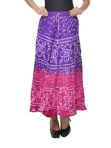 Ethnic Purple & Pink Jaipuri Bandhej Long Skirt - Ruhaan's