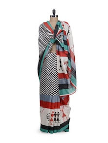 Multicolored Saree With Diagonal Stripes - Awesome