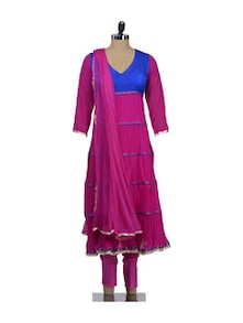 Stylish Pink & Blue Stitched Suit - Awesome