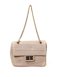 Twisted Hook And Eye And Zipper Fastening Beige Handbag - Thegudlook