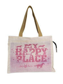 Beige And Pink My Happy Place Jute Bag - The House Of Tara