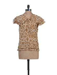 Earthy Floral Top With Ruffled Sleeves - Thegudlook