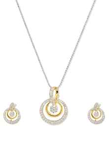 Hearty Pink Traditional Pendant Set - Vendee Fashion