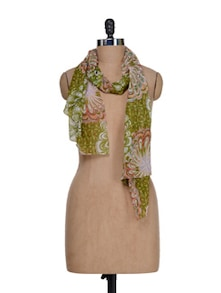 Floral Print Scarf In Bright Green - J STYLE