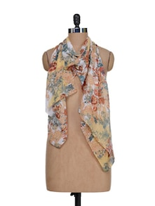 Floral Print Scarf In Muted Hues - J STYLE