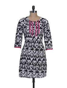Stylish Black & White Printed Kurti - Meira