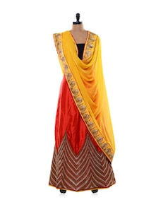 Jacqueline Lehenga In Bold Yellow-Red - Purple Oyster