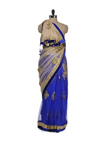 Blue & Golden Net Bollywood Saree - Purple Oyster