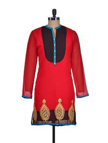 Bright Red Kurta With Contrasting Yoke - ASEESA