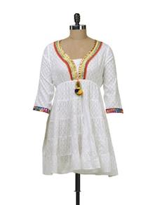 Ethnic White Cotton Kurti - Free Living