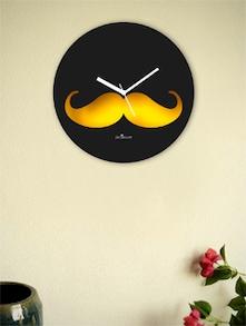 Yellow And Black Moustache Wall Clock - Zeeshaan