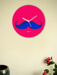 Blue And Pink Moustache Wall Clock - Zeeshaan