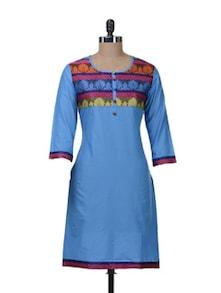 Ethnic Blue Kurta With Brocade Yoke - Paislei