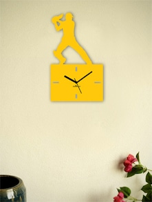 Yellow Cricket Square Cut Wall Clock - Zeeshaan