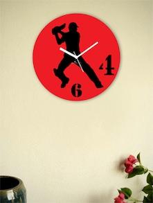 Red And Black Batsman Wall Clock - Zeeshaan
