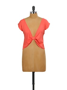 Coral Red Cropped Top - Miss Chase