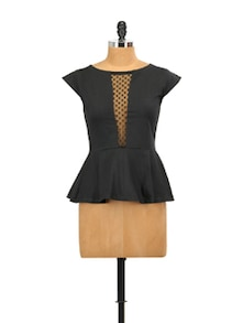 Lacy Black Peplum Top - Miss Chase